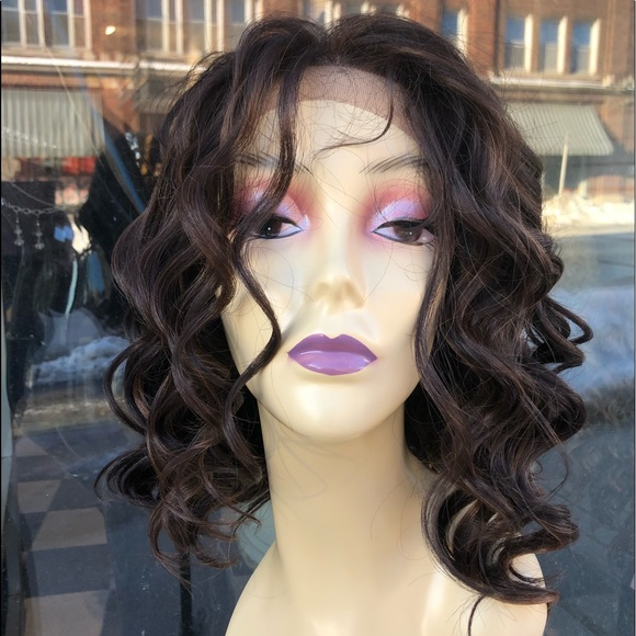 Accessories Fulllace Short Curly Bob Brown Wig Highlights 2019